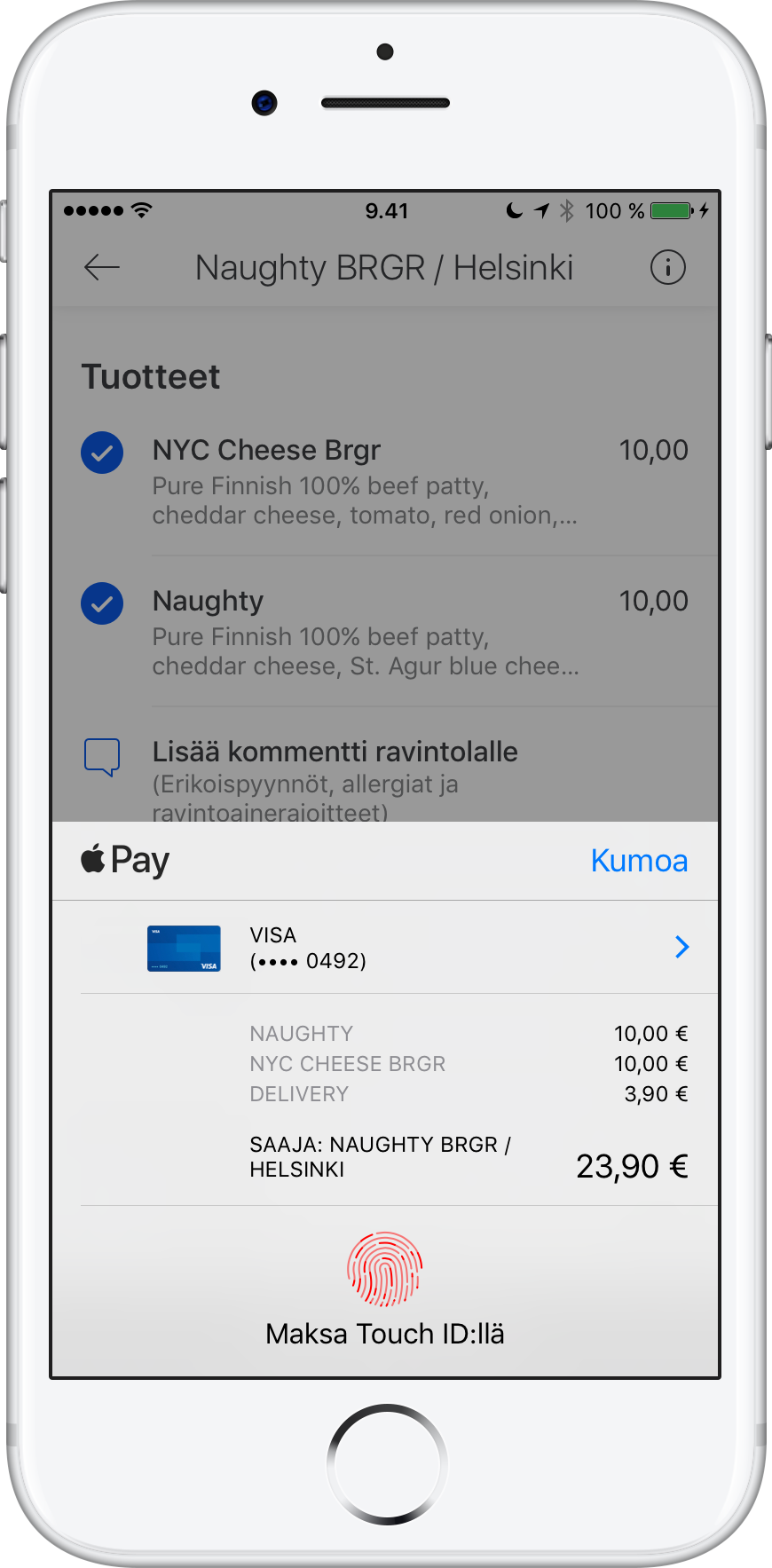 Paying for some delicious food from Naughty BRGR with Apple Pay.